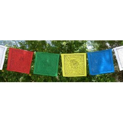 Banderas de oración divinidades 12 x 14 cm - Pequeñas Llamadas lungta o caballo de viento, se colocan en templos, casas, monta