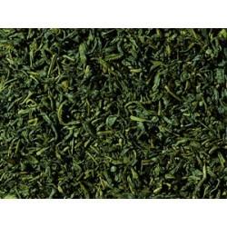 """Té verde*, *de cultivos orgánicos controlados Chun Mee significa """"ceja valiosa"""", ya que la hoja recuerda a la forma de las cej"""