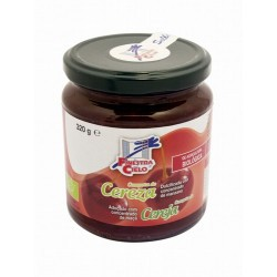 Compota de cereza procedente de agricultura ecológica certificada. Obtenida de la cocción de la fruta y su mezcla con concentra