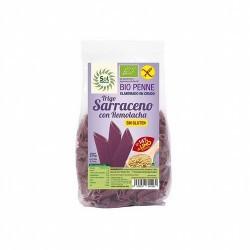 PENNE TRIGO SARRACENO CON REMOLACHA Y LINO SIN GLUTEN BIO 250 G SOL NATURAL   Ingredientes: Harina de Trigo Sarraceno* 66%, Rem