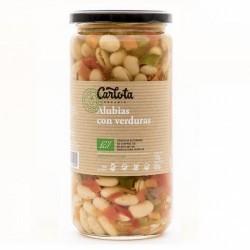Alubias con verduras frescas de agricultura ecológica. Sin ningún aditivo artificial. Sin gluten, sin alérgenos, bajo en grasas