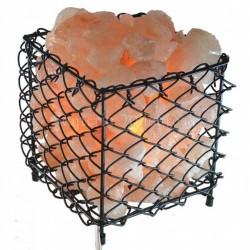 Lampara Sal Canasta Cuadrada c/ piedras 22 cm x 20 cm