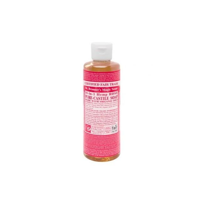 El Jabón Líquido de Castilla del Dr. Bronner's de Rosas, con sus maravillosamente mezclados aceites esenciales, da una impresió