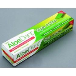 La fórmula Triple acción, suaviza, protege y blanquea los dientes. El Aloe Vera, gel natural , el Co-Q-10 y el Escín para encia