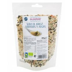 Sopa de arroz, verduras y algas – 250g / 500g Contiene 40g de algas por Kilo  Sémola de arroz integral, verduras deshidratad