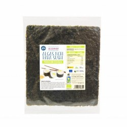 ALGA NORI PARA SUSHI BIO 25 G ALGAMAR  *con certificación ecológica  (Porphyra ) Es un alga de pequeño tamaño y muchos plieg