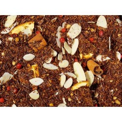 té Rooibos, barras de canela, pedacitos crocantes (azúcar, pepa de avellana, azúcar invertida), almendra rayada, aroma, rodajas