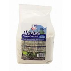 Harina integral de arroz elaborada en atmósfera protegida para asegurar su conservación. Procedente de agricultura ecológica, e