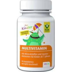 Multivitaminas para Niños Con sabor afrutado de manzana Sin gluten y sin lactosa Endulzado con xilitol Para niños a partir
