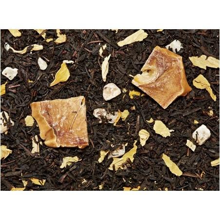 Té negro (82%), cubitos de melón (melón, azúcar), trozos de caqui, aroma, flor de girasol
