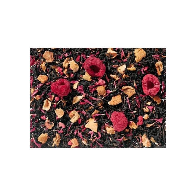 Té negro (65%), trozos de manzana, aroma natural, trocitos de frambuesa liofilizadas, frambuesa entera liofilizada, flores de a