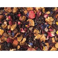 flor de hibisco, trozos de manzana, cubitos de papaya (papaya, azúcar), pasa de corinto, saúcos, grosella negra, aroma, trocito