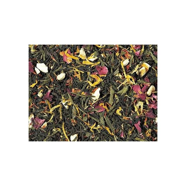 Té negro (55%), Té verde (30 %), cáscara de naranja, aroma, flor de rosas, cártamo, hojas de calendula