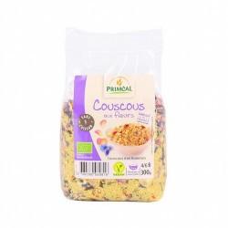 Deliciosa receta vegana a base de cuscús de trigo y flores. Sin necesidad de cocción, lista en 5 minutos. Ideal para una comida