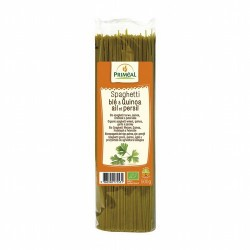 Ingredientes: Semola de TRIGO de calidad superior * (86.5%), quinoa * (10%), perejil * (3%), ajo *. * de la agricultura ecológi