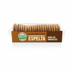 Ingredientes: Harina de ESPELTA* 47%, aceite vegetal (girasol* y manteca de cacao*), chocolate* 14% (pasta de cacao*, azúcar de