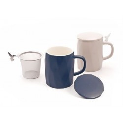 "Herb Tea Mug ""Lilia"", porcelain with relief, matte, 2 assorted"
