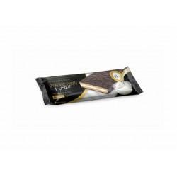 Por barrita: Cobertura de chocolate negro con edulcorante (45.00%) (pasta y manteca de cacao, edulcorante: maltitol y aspartam