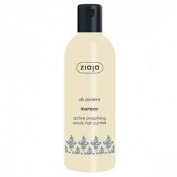 Champú alisador con Proteínas de Seda  Ideal para cabellos secos, ásperos y sin brillo.  Hidrata intensamente y alisa el ca