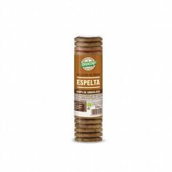 Galleta de espelta gruesa y crujiente con chips de chocolate. Elaborada con aceite de girasol. Ingredientes: Harina de TRIGO E