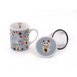 """Tisanera """"Gato de la fortuna"""" Porcelana, 3 piezas con filtro de acero inoxidable, 0.25 l"""