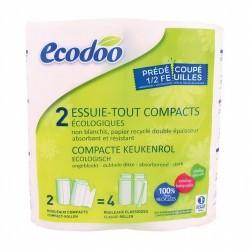 Papel cocina compacto 100% fibra reciclada Ecodoo 2 unidades Papel 100% reciclado absorbente y resistente, de doble espesor y