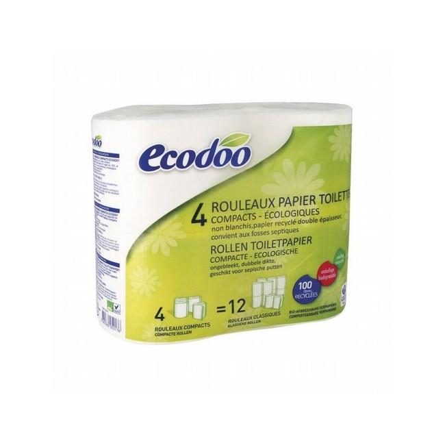Papel higiénico compacto 100% fibra reciclada Ecodoo 4 unidades ECODOO  Papel 100% reciclado absorbente y resistente, de dob