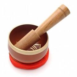 Cuenco Tibetano Segundo Chakra de Ø75mm. Incluye Cuenco de Bronce, cojin, mazo de madera