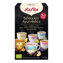 Nuestra Selección Ayurvédica contiene 3 bolsas de cada: Classic · Jengibre y Limón · Detox · Chai Cúrcuma · Mujer Equilibrio ·