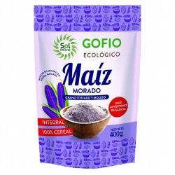 GOFIO DE MAIZ MORADO INTEGRAL BIO 400G SOL NATURAL El gofio, alimento típico de las Islas Canarias, es la harina que se obtien