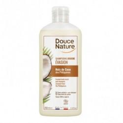 Champú gel de coco para la higiene del cabello y cuerpo. El aceite de coco posee propiedades nutritivas Sin sulfatos Sin jabón