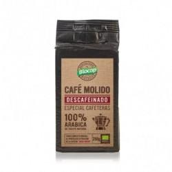 BIOCOP  Café arábica molido descafeinado. Tueste natural. Envasado al vacío. De aroma característico y sabor equilibrado. Des