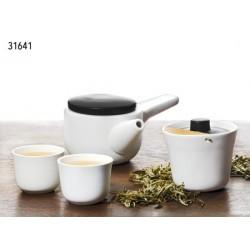 """Juego de té """"Kenda"""" Cerámica y bambú Cuerpo blanco y tapa negra"""