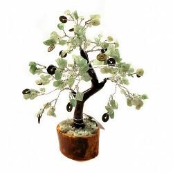 Árbol compuesto de 160 piedrecitas chip en aventurina y Monedas I Ching ( simbolo de la fortuna).  Base de madera.  Para la