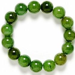 Pulsera de bolas de ágata Verde púlida de 8 mm. Goma elástica.