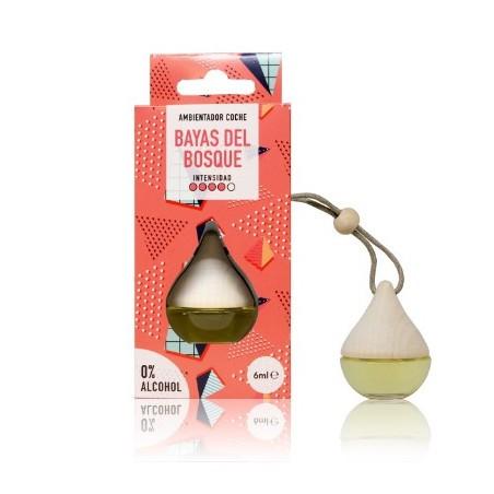 El ambientador coche Drop Bayas del Bosque perfuma coches, armarios y taquillas con un aroma frutal y herbal con una intensidad