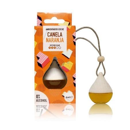 El ambientador coche Drop Canela-Naranja perfuma coches, armarios y taquillas con un aroma espaciado y cítrico con una intensid