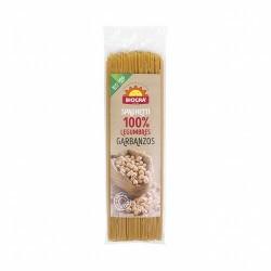 Pasta alimenticia ecológica elaborada con harina de garbanzos 100%. Los spaghetti de garbanzos son muy adecuados para integrar