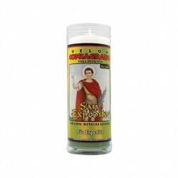 VELON CONSAGRADO San Expedito 15 x 5.5 cm (Incluye Ritual) Este Velón Consagrado a San Expedito, patrón de las causas urgentes