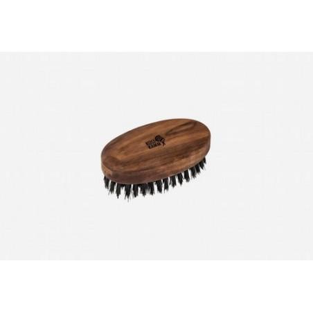 Cepillo para barba ovalado, grande, nogal, cerda negra de jabalí Cerda firme de jabalí, buena penetración, agradable efecto