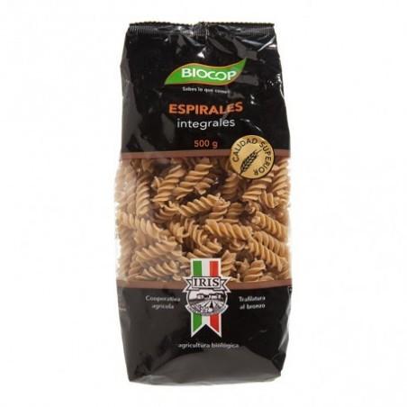 Espirales de sémola integral de trigo duro producido con una mezcla de granos seleccionados y cultivados por la Cooperativa Agr
