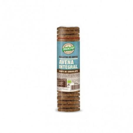 Ingredientes: Harina de TRIGO INTEGRAL*, copos de AVENA* 21%, chips de chocolate* 15% ( azúcar de caña*, pasta de cacao*, mante