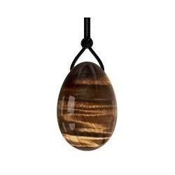 Huevo Ojo de Tigre Perforado. Medida: 35x55mm. aprox.     NO INCLUYE CORDÓN