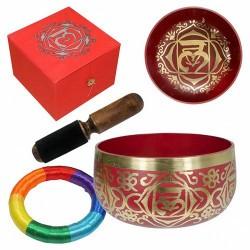 Cuenco de bronce perteneciente al Primer Chakra. Incluye Cuenco de Bronce, aro almohadilla, mazo y caja.  Medida cuenco: 12,