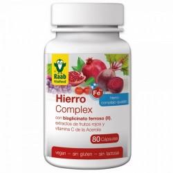 Las cápsulas Hierro Complex de Raab contienen una combinación de plantas rojas en polvo y extractos de granada, remolacha, pepi