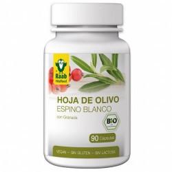 Las cápsulas de hoja de olivo y espino blanco Bio de Raab contienen hojas de olivo en polvo de primera calidad y extractos vege