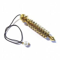 Péndulo dorado Isis.  Medida : Péndulo: 7 cm.                Largo: 15cm