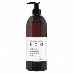 Gel de ducha y champú 3 en 1 para rostro, cuerpo y cabello.  Limpia suavemente la piel y el cabello proporcionando sensación
