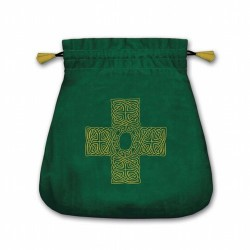 Bolsa Tarot Terciopelo Verde 20,5 x 20 cm (Motivo Cruz Celta) * Ref.: TB30