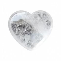 Cuarzo cristal de roca tallada en forma de corazón para decoración o terápia de Feng-shui.  Medida: 4 x 3,6 x 0,2cms.
